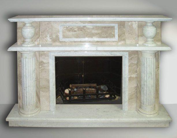 камин отделанный мрамором