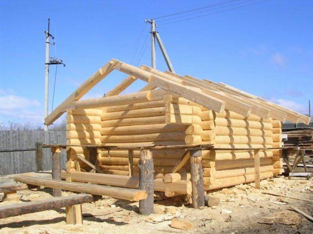 начало строительства бани